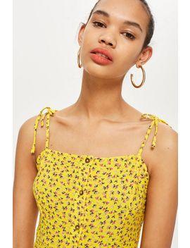 Petite Ditsy Button Midi Dress by Topshop
