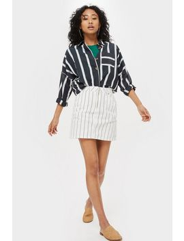Petite Pinstriped Denim Skirt by Topshop