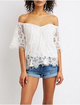 Floral Lace Off The Shoulder Top by Charlotte Russe