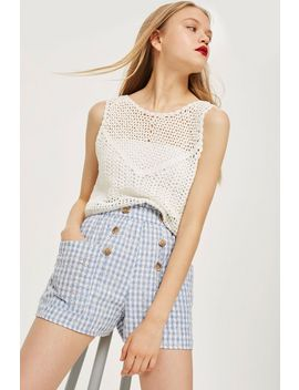 Gingham Broidery Shorts by Topshop