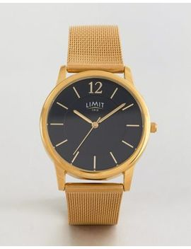 Limit Gold Mesh Watch With Black Dial Exclusive To Asos by Limit