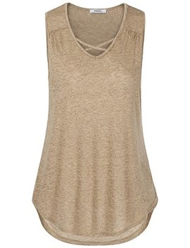 Youtalia Women's Summer Lightweight V Neck Cross Front Tank Tops Shirts by Youtalia