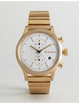 Nixon Station Chronograph Bracelet Watch In Gold by Nixon