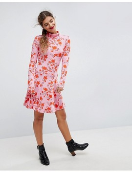 Asos Polo Neck Mini Dress With Godets In Floral Print by Asos Collection