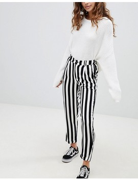 Pull&Bear Tapered Trouser In Black And White Stripe by Pull&Bear