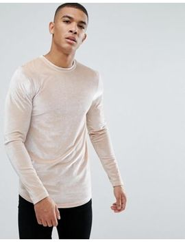 Asos Longline Muscle Long Sleeve T Shirt In Velour With Curved Hem In Beige by Asos