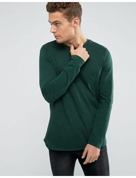 Asos Long Sleeve T Shirt With Curved Bound Hem In Green by Asos