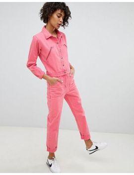 Asos Design Denim Boilersuit In Pink by Asos Design