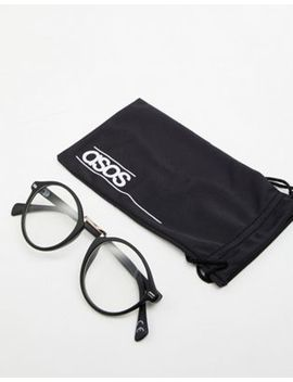 Asos Design Round Glasses In Black With Clear Lens by Asos Design