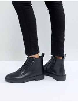 Raid Miley Black Zip Detail Flat Ankle Boots by Raid