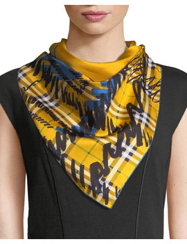 Twill Silk Scribble Check Scarf by Burberry