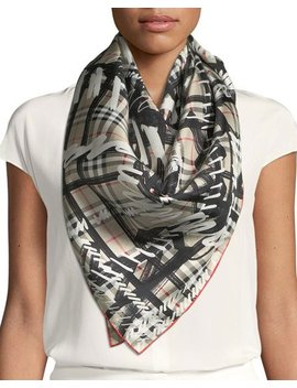 Silk Twill Scribble Vintage Check Scarf by Burberry