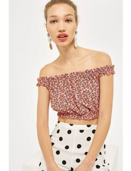 Strappy Floral Print Bardot Top by Topshop