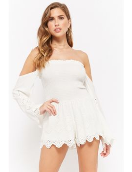 Off The Shoulder Eyelet Lace Romper by Forever 21