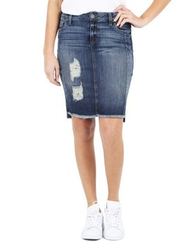 Ripped High/Low Denim Skirt by Kut From The Kloth