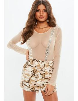 Nude Embellished Mesh Bodysuit by Missguided