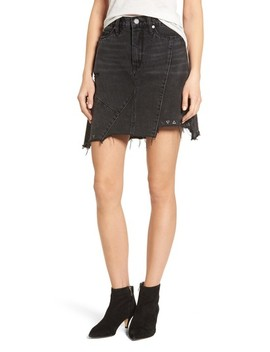 High Rise Asymmetrical Denim Miniskirt by Blanknyc