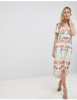Hope & Ivy Button Front Flutter Sleeve Midi Dress In Mirrored Floral Print by Hope And Ivy