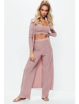 Pink Ribbed Wide Leg Pants by Missguided