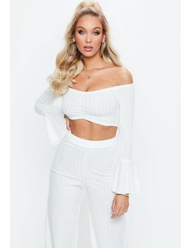 Cream Flute Sleeve Ribbed Bardot Crop Top by Missguided