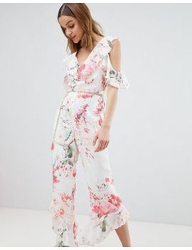 River Island Floral Print Frill Front Jumpsuit by River Island
