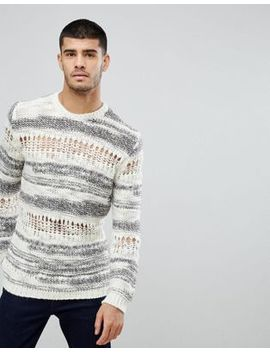 Asos Relaxed Fit Sweater With Mixed Yarn In White by Asos