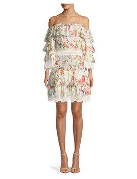 Santos Cold Shoulder Floral Print Tiered Silk Dress W/ Lace Trim by Alice + Olivia