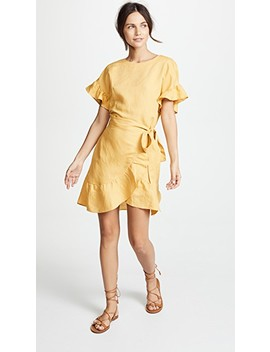 Linen Ruffle Wrap Dress by Astr The Label