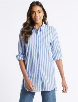 Pure Cotton Striped Long Sleeve Shirt by M&S Collection