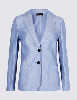 Petite Linen Rich Single Breasted Blazer by M&S Collection