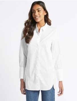 Pure Cotton Longline Long Sleeve Shirt by M&S Collection