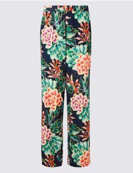 Floral Print Wide Leg Trousers by Per Una