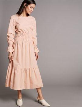 Pure Cotton Ruched Waist Midi Dress by Autograph