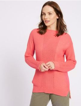 Pure Cotton Cable Knit Slash Neck Jumper by M&S Collection