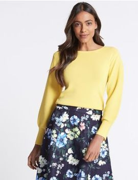 Balloon Sleeve Slash Neck Jumper by M&S Collection