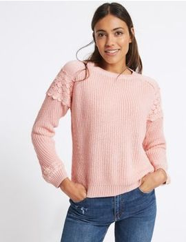 Pure Cotton Lace Round Neck Jumper by M&S Collection