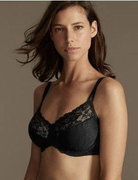 Floral Jacquard Lace Minimiser Full Cup Bra C G by M&S Collection