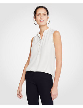 Shirred Popover Shell by Ann Taylor