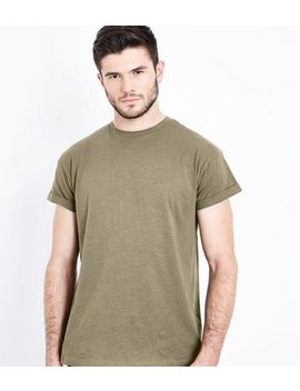 Khaki Cotton Rolled Sleeve T Shirt by New Look