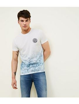 Teal Faded Tile Print T Shirt by New Look