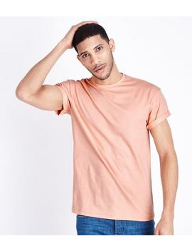 Coral Rolled Sleeve T Shirt by New Look