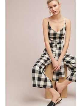 Gingham Tie Waist Jumpsuit by If By Sea