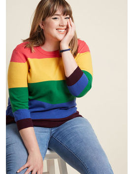 Charter School Pullover Sweater In Rainbow Stripes Charter School Pullover Sweater In Rainbow Stripes by Modcloth