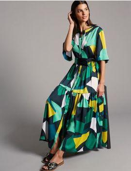 Geometric Print Half Sleeve Maxi Dress by Autograph