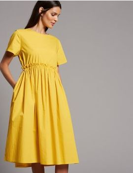 Pure Cotton Drawcord Swing Dress by Autograph