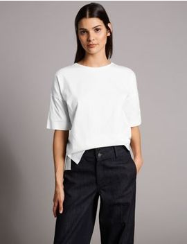 Pure Cotton Round Neck Half Sleeve T Shirt by Autograph