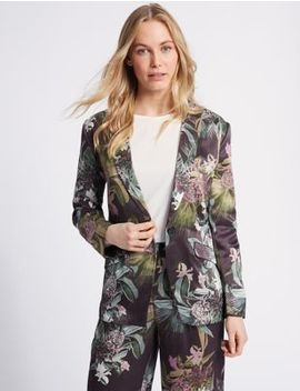 Floral Print Single Breasted Blazer by M&S Collection