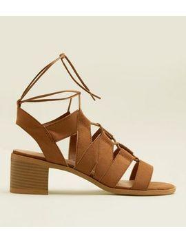 Teens Tan Suedette Block Heel Gladiator Sandals by New Look