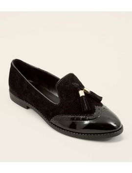 Black Suede Contrast Panel Tassel Loafers by New Look