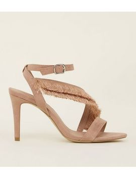 Wide Fit Nude Suedette Fringe Strap Sandals by New Look